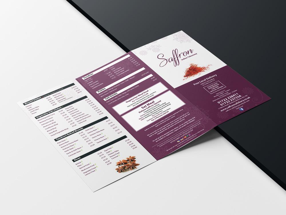Saffron takeaway menu laid out flat.